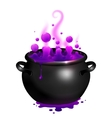 black cauldron with purple witches magic vector image