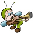 Bug And Trombone vector image vector image