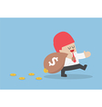 Businessman losing his money from leak bag vector image vector image