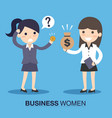 businesswoman and employee with money vector image vector image
