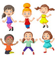 cartoon happy little girls with different pose vector image vector image