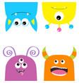 colorful monster silhouette set hanging head face vector image vector image