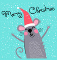 cute gray rat in santas hat wishes merry christmas vector image