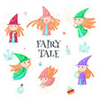 cute little enchantress icon set isolated vector image vector image