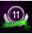 Eleven years anniversary celebration with silver vector image vector image