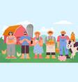 farmers team cartoon agricultural man and woman vector image