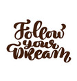 follow your dreams slogan hand written lettering vector image vector image