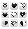 Geometric heart for Valentines Day grey buttons vector image vector image