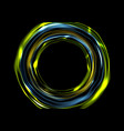 Glowing neon luminous circles on black background vector image vector image