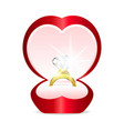 gold ring with heart gemstone vector image