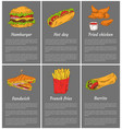 hamburger and sandwiches set vector image vector image