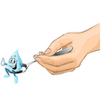 hand hold spoon with drop of syrup cartoon vector image vector image