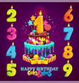 happy birthday cake and numbers vector image vector image