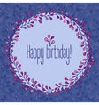 Happy Birthday greeting card floral wreath vector image vector image