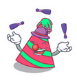 juggling party hat mascot cartoon vector image