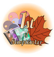 logo 1st september with maple leaves vector image