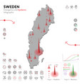 map sweden epidemic and quarantine emergency vector image vector image