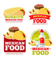 mexican food restaurant badges labels vector image