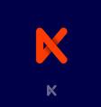orange k letter linear monogram with shadow vector image