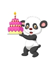 Panda cartoon with birthday cake vector image vector image
