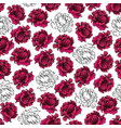 pattern with purple and white peony flowers as vector image vector image