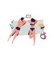 relaxing people sunbathing couple on beach vector image