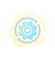 rotation icon with cogwheel gear vector image vector image