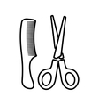 Scissors and comb icon outline style vector image