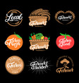 set farm hand written lettering logos labels vector image