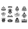 set of wild forest and ecotourism labels vector image