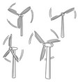 set of wind turbine vector image