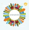 shenzhen china city skyline with color buildings vector image vector image
