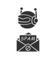 spambot glyph icon virus advertisements spam bot vector image