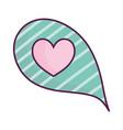 speech bubble heart love stripes background cute vector image
