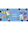 team work concept together use puzzle or jigsaw vector image vector image