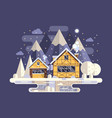 winter mountain house with chimney vector image vector image