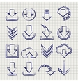 Downloading icons set on notebook background vector image