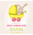 Baby Girl Arrival Card - with Baby Bunny vector image