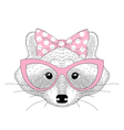 cute raccoon girl portrait with cat eyes glasses vector image