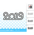2019 simple black line happy new year icon vector image vector image