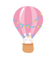 baby shower cute rabbit in air balloon vector image vector image