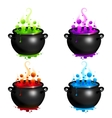 Black cauldrons set with colorful witches vector image vector image