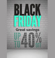 black friday 40 percent off sale realistic vector image