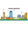 canada vancouver city skyline architecture vector image vector image