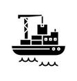 cargo shipment black icon concept vector image