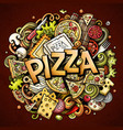 cartoon cute doodles pizza word colorful vector image vector image