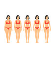 cartoon women slimming stages set vector image