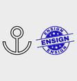 contour anchor icon and grunge ensign seal vector image vector image