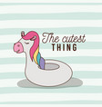 cutest thing poster of inflatable unicorn with vector image