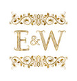 e and w vintage initials logo symbol vector image